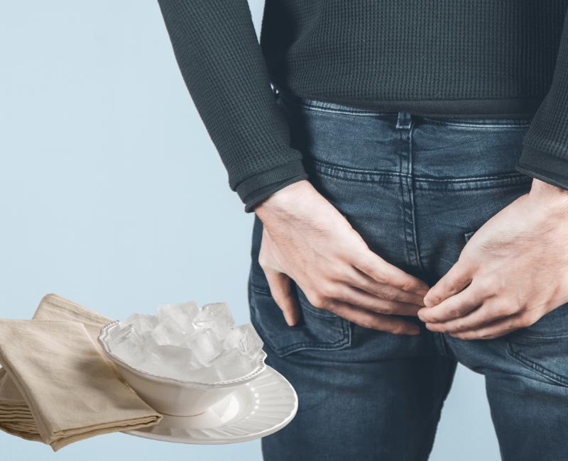 Chườm túi đá vào hậu môn giúp giảm đau và sưng tấy